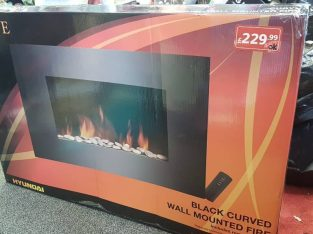 Black curved wall mounted fire, Hyundai