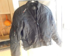 BIKER JACKET , SIZE LARGE, FULLY ARMORED,GOOD CONDITION