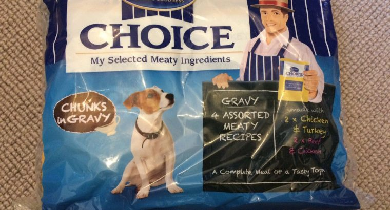 Dog food/Butchers Choice Chunks In gravy from a smoke free house, BBD: 01/01/2019