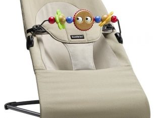 Bouncer in Beige with wooden toy, Babybjorn Soft Balance