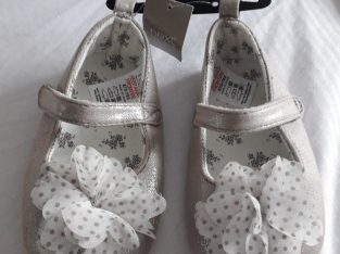 NEW Next girls shimmery gold baby shoes size 4 (18/24months)