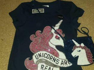 BRAND NEW girls navy sequin unicorn tee shirt and bag set