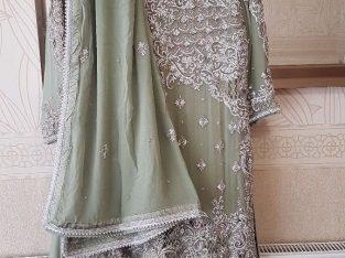 OLIVE GREEN Asian Indian Pakistani Wedding Party Walima Function Dress