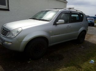 2005 Ssangyong Rexton, 7 seats, tow bar, all terrain tyres, 4wd.