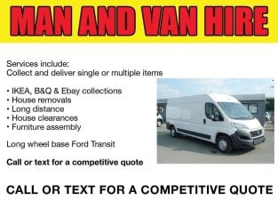 REMOVALS, SAME DAY DELIVERY CHEAP VAN AND MAN, VAN HIRE