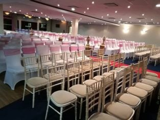Chair covers, martini glass, candelabra, hire SPECIAL OFFER