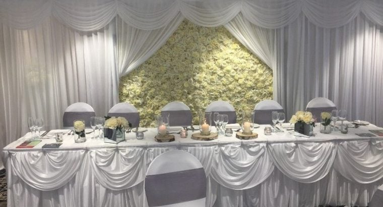 Luxury Ivory Silk Flower Wall to hire for Weddings, Parties, Corporate Events