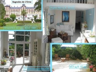 Рesidence of 1889 renovated Flat 1 Bed+garden+view of lake – sale in France Normandy, Termal City