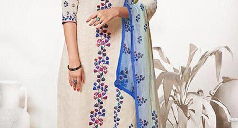 Off White & Blue Pure Linen Salwar Kameez Suit