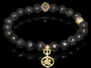 Black Lava Rock Lion Bracelet / Energy and Strength