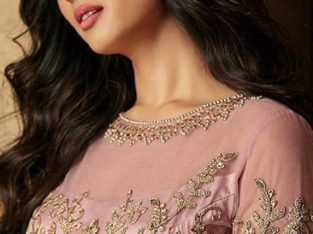 Party Wear Lilac Net Anarkali Suits