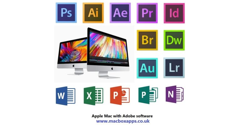APPLE IMAC WITH ADOBE PHOTOSHOP, ILLUSTRATOR & MS