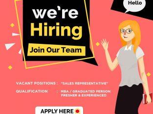 We are hiring Sales Representative